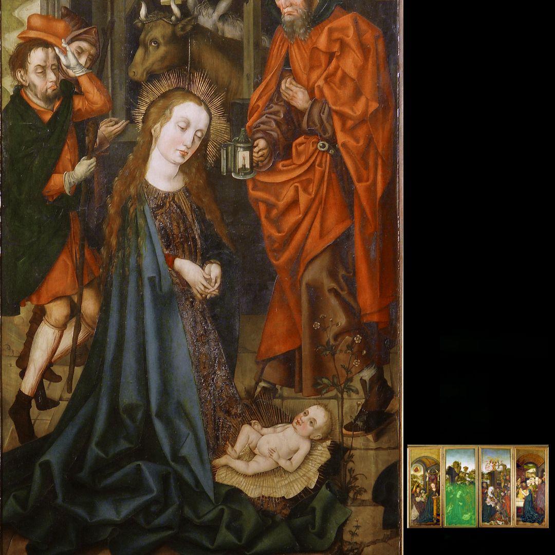 Peringsdörffer Retabel 1. Wandlung, Geburt Christi, Detail