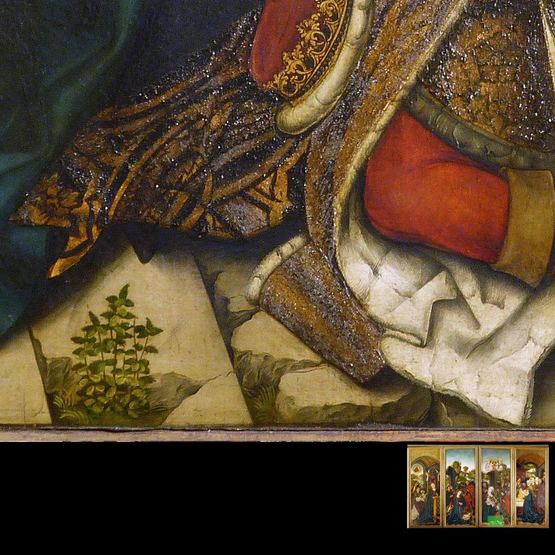 Peringsdörffer Retabel 1. Wandlung, Anbetung der Heiligen Drei Könige, Detail