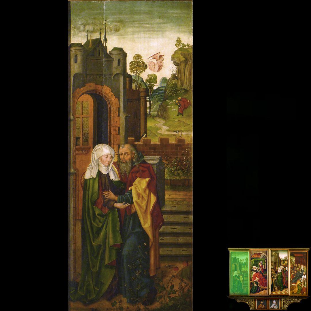 Peringsdörffer Retabel 2. Wandlung, Anna und Joachim an der Goldenen Pforte