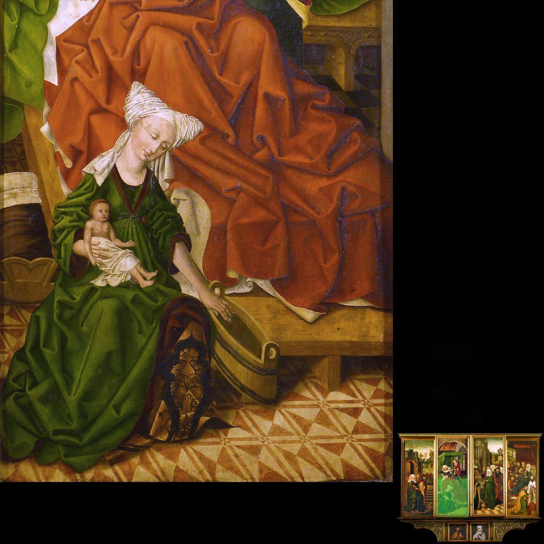Peringsdörffer Retabel 2. Wandlung, Geburt Marias, Detail