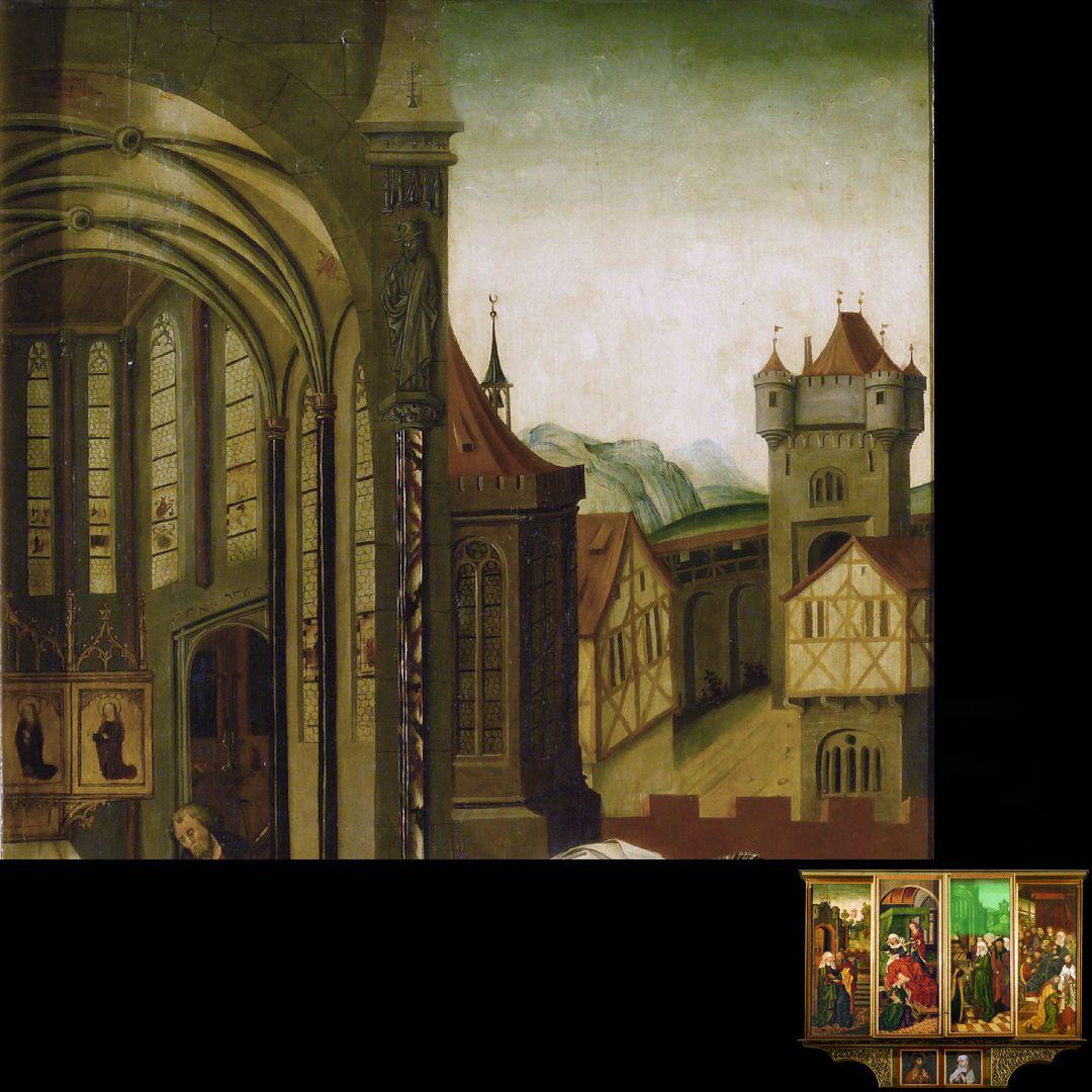 Peringsdörffer Retabel 2. Wandlung, Tempelgang Mariens, Detail