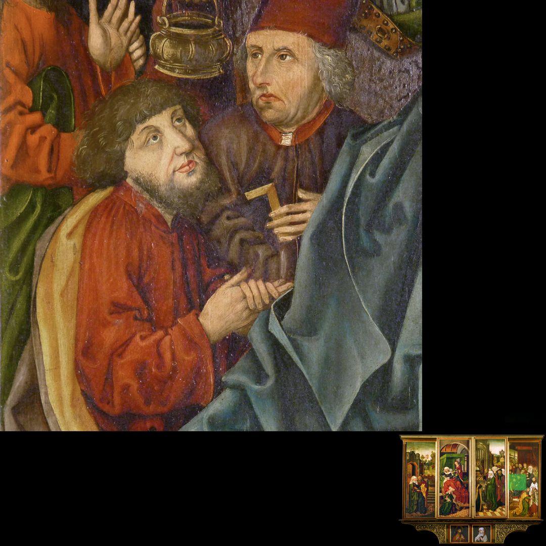 Peringsdörffer Retabel 2. Wandlung, Tod Mariens, Detail, links mit dem Portrait des Patriziers Hans Tucher (gest. 1491)