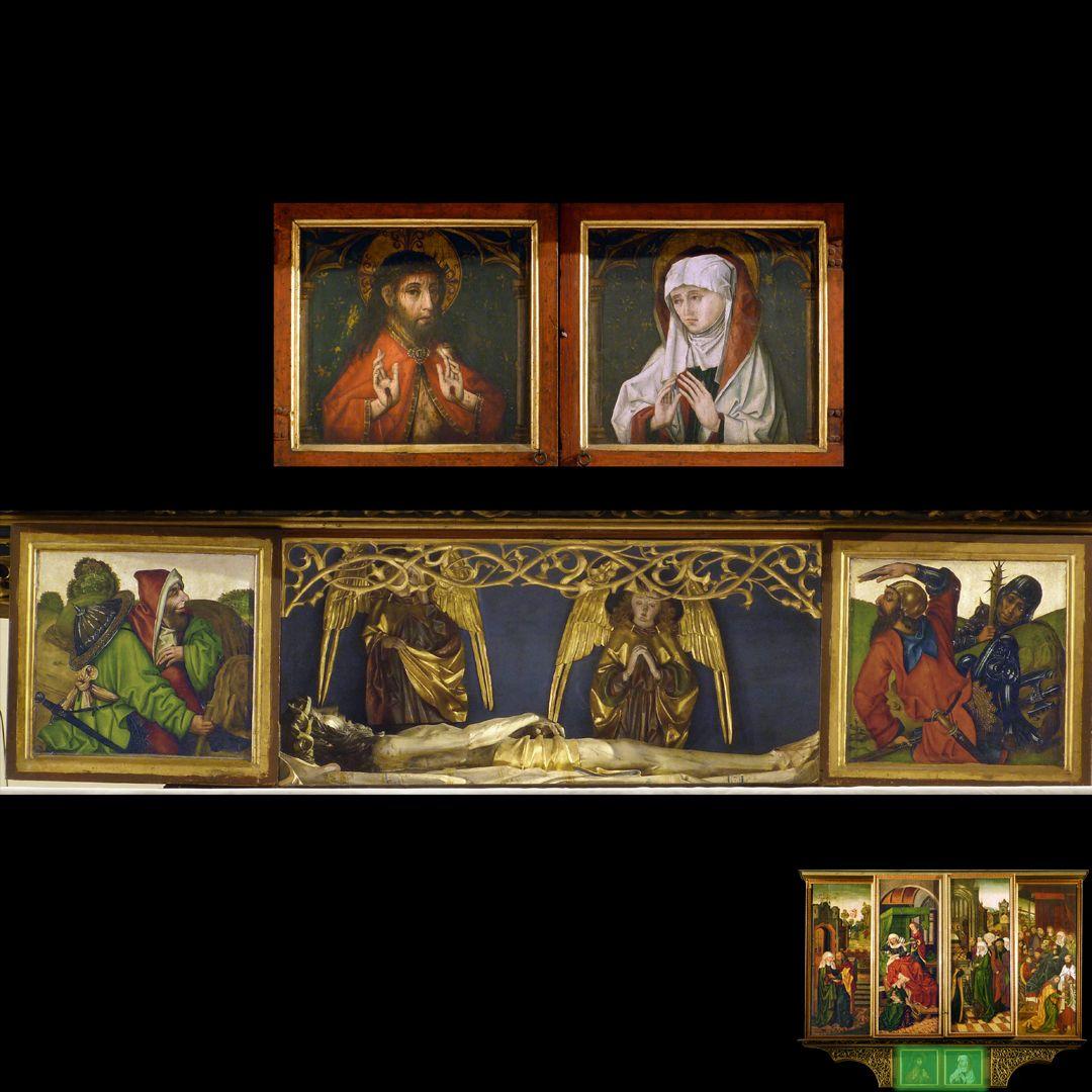 Peringsdörffer Retabel Predella im geschlossenen Zustand, Christus und Maria. Predella im geöffneten Zustand, Wächter am Grab und Leichnam Christi mit zwei Engeln.