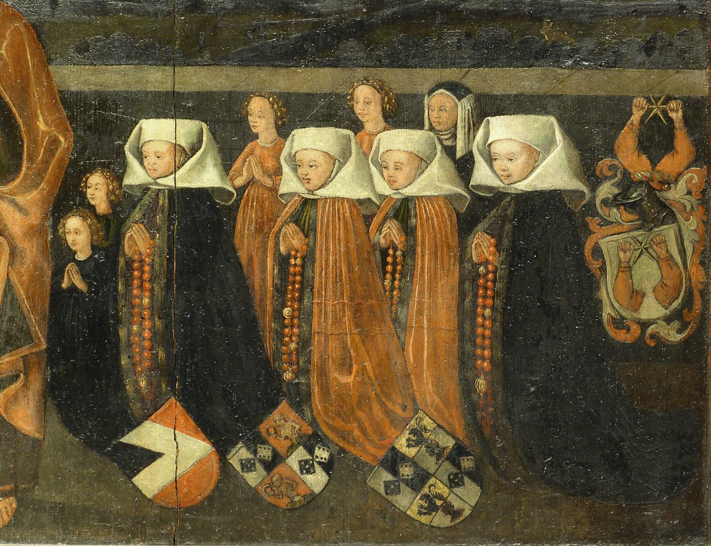 Peter´s Altar Antependium, women's side to the left of Peter. Nikolaus Topler was married in his first marriage to Martha, née Truhenschmidt (buried 3.5.1467) from Zwickau and in his second marriage to Clara, née Haller.