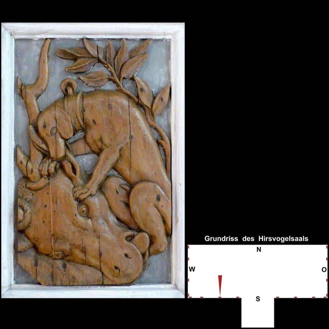 Pilasterabfolge im Hirsvogelsaal Postament mit Jagdhund und erlegtem Hirsch
