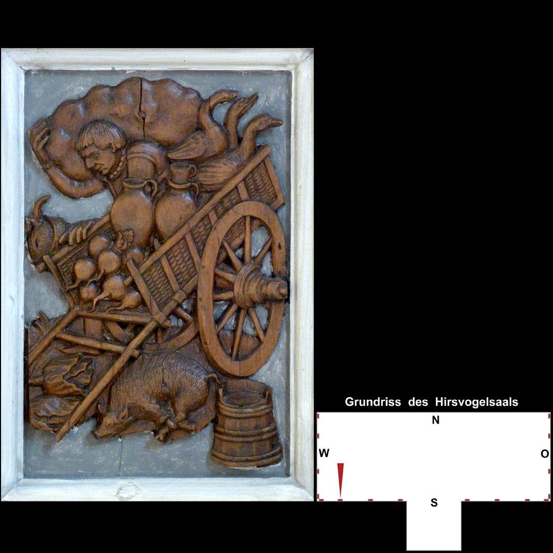 Pilasterabfolge im Hirsvogelsaal Postament: Bauer mit Karren und landwirtschaftlichen Erzeugnissen