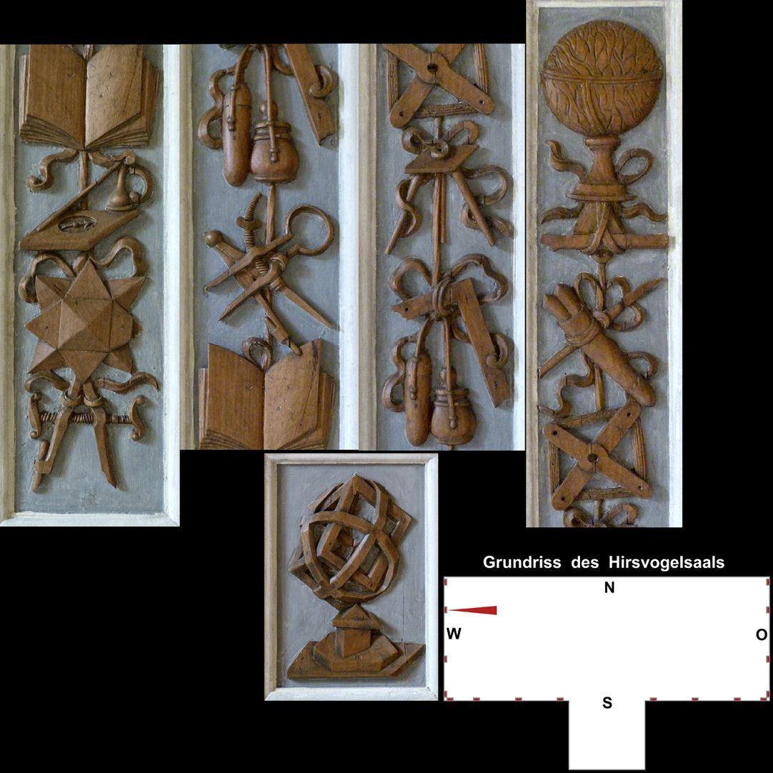 Pilasterabfolge im Hirsvogelsaal oben: Pilastersegmente mit Geometriewerkzeugen; unten: stereometrisches Gebilde nach der Art des Johannes Lencker d.Ä.