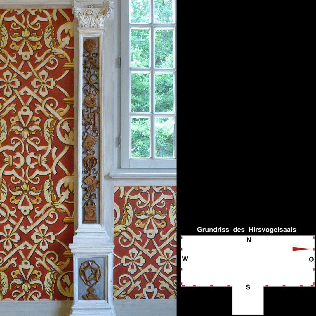 Pilasterabfolge im Hirsvogelsaal östlicher Pilaster mit Darstellungen astronomischer Geräte
