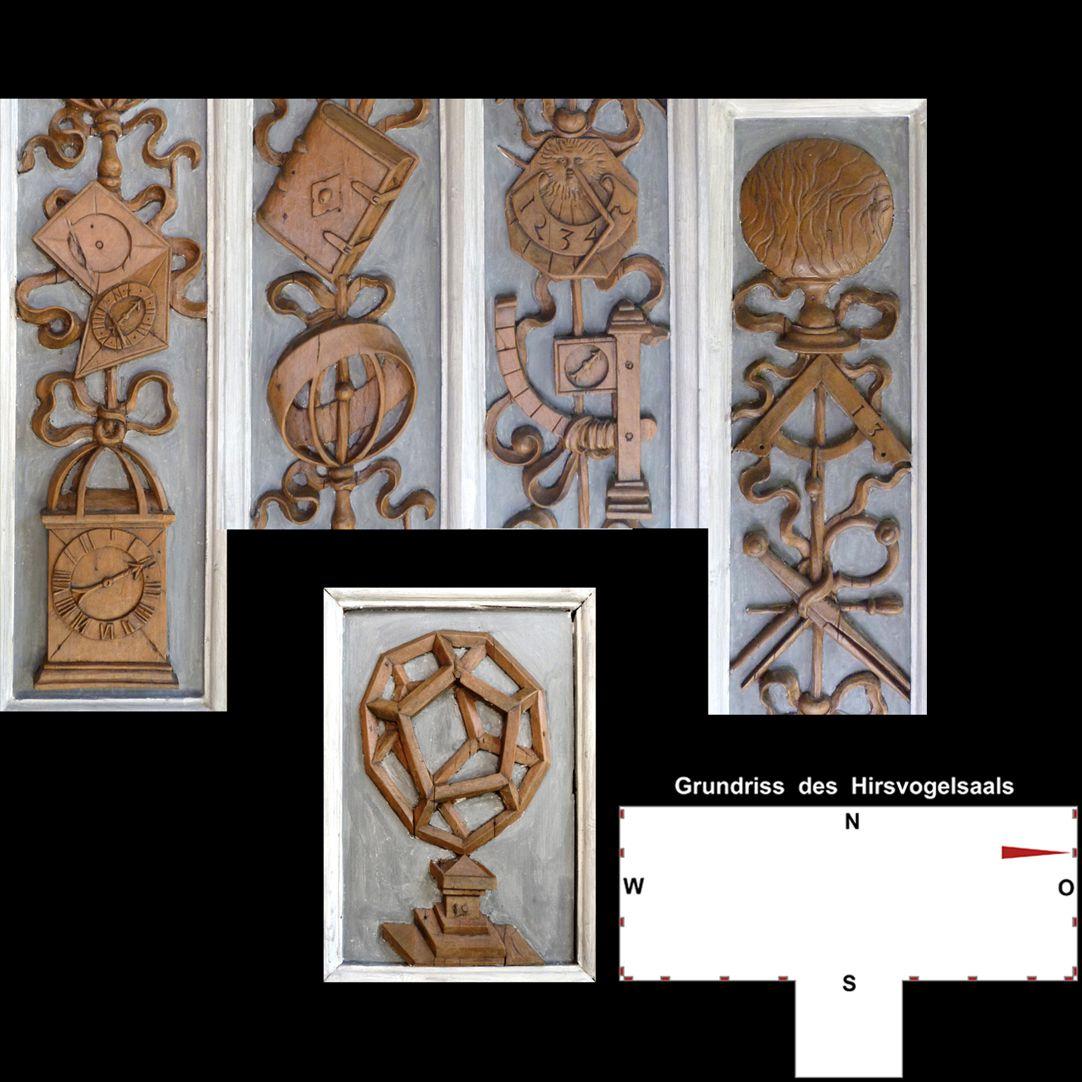 Pilasterabfolge im Hirsvogelsaal oben: Pilastersegmente; unten Postament mit Pentagondodekaeder