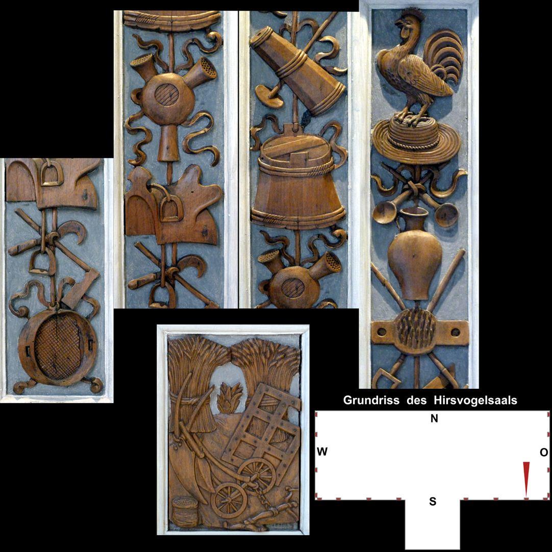 Pilasterabfolge im Hirsvogelsaal oben: Pilastersegmente mit landwirtschaftlichen Motiven; unten: Postament mit Agrarmotiven