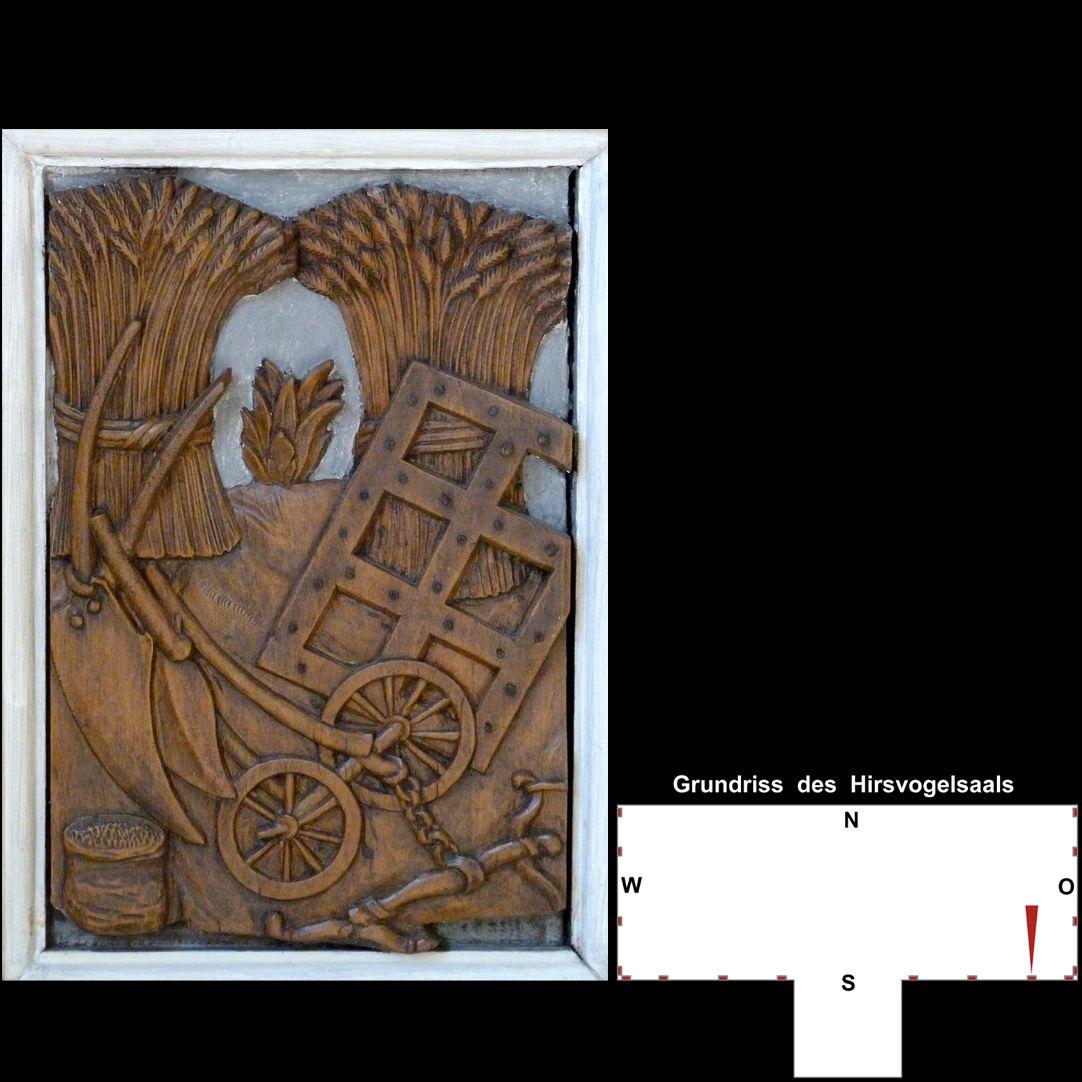 Pilasterabfolge im Hirsvogelsaal Postament mit Agrarmotiven