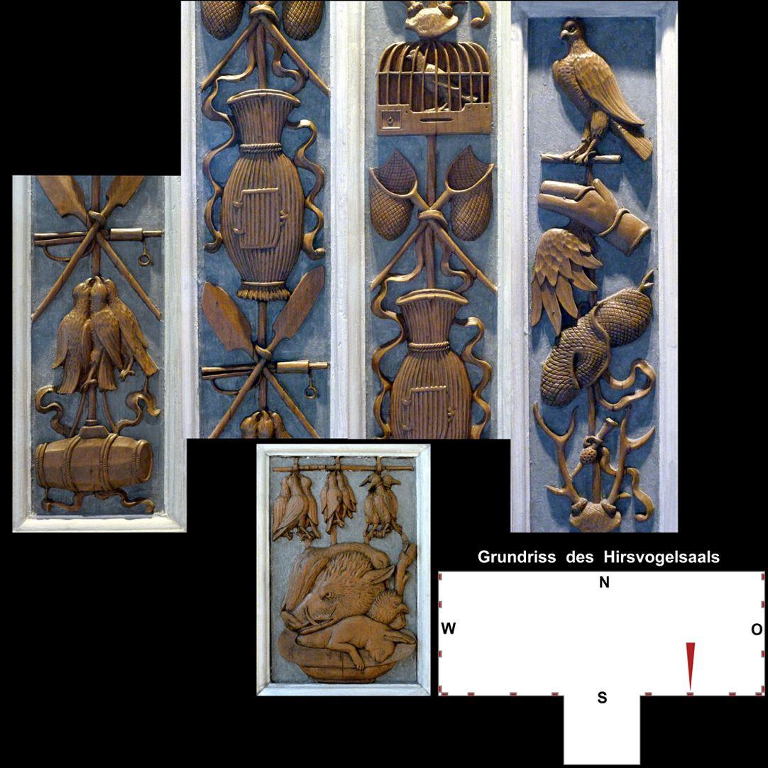 Pilasterabfolge im Hirsvogelsaal oben: Pilastersegment mit Jagdmotiven; unten: Postament mit totem Wild und Geflügel