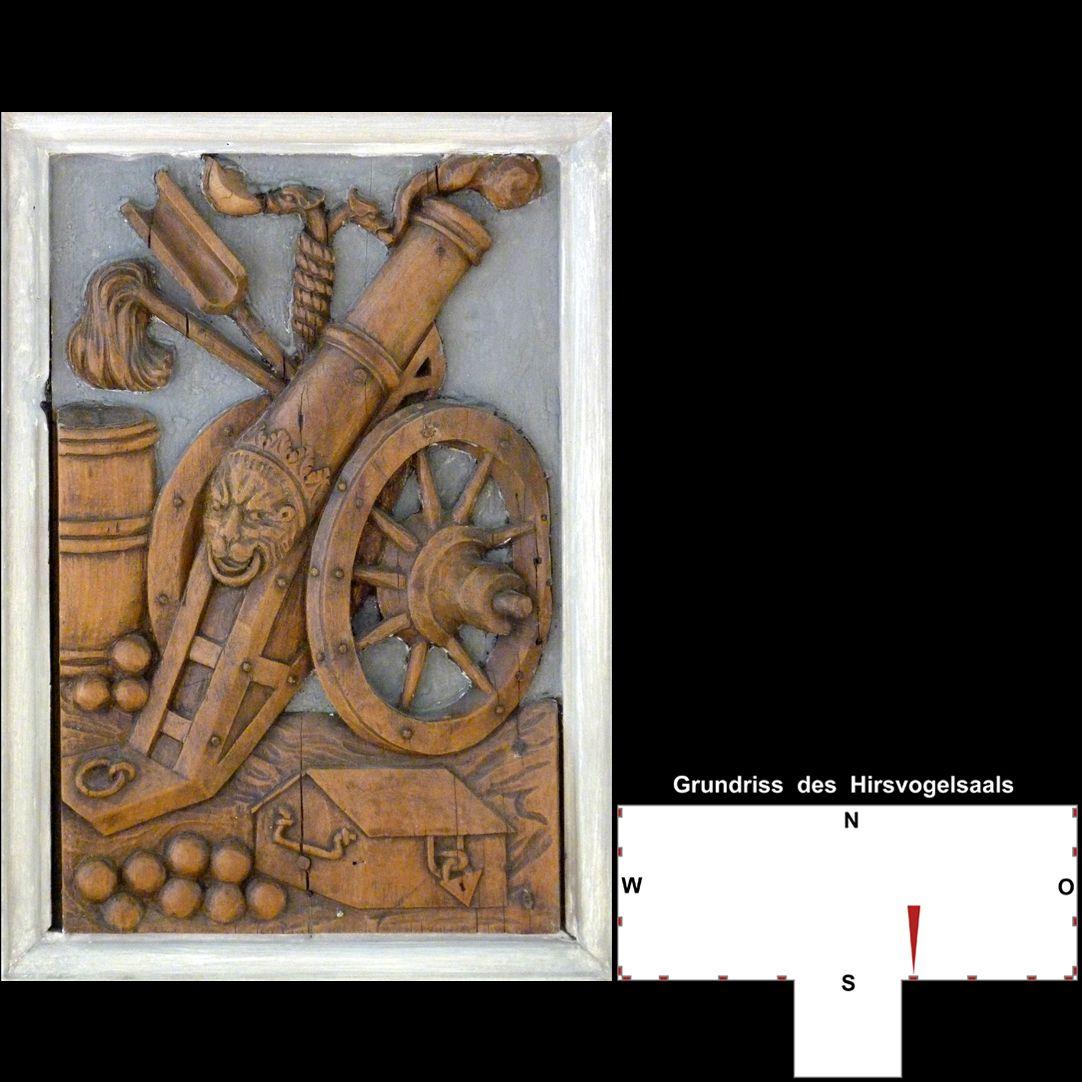 Pilasterabfolge im Hirsvogelsaal Postament mit Feldgeschütz