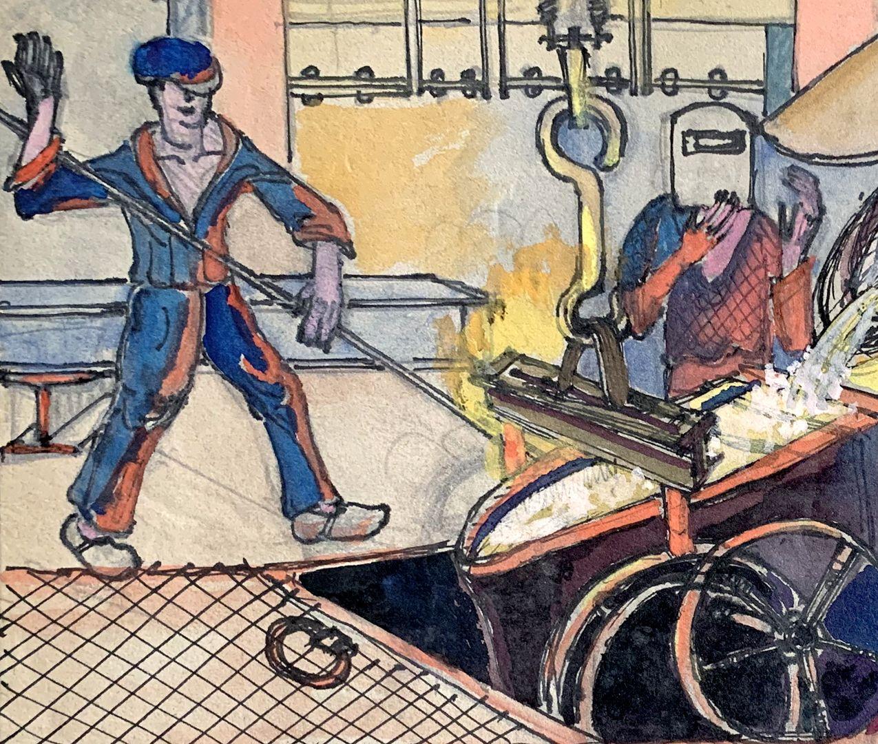 Eisengießerei Stahlarbeiter mit Stange und Schutzmaske