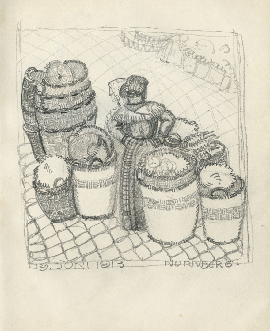 Sketch books Market scenes from 19.06.1913