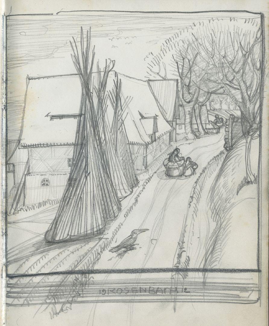 Sketch books Village street, Rosenbach 1912