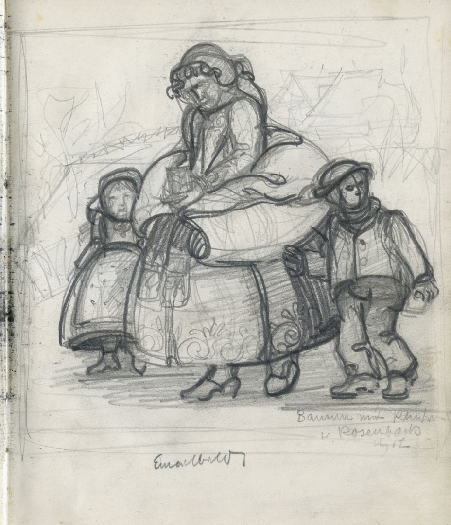 Sketch books A peasant woman with children on the way to church. Inscribed: Farmer's wife with children, Rosenbach 1912 / Enamel pictures