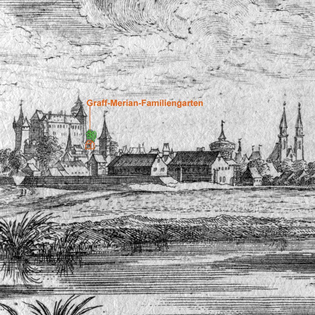 Poets´ grove Detail with view to the Nuremberg Castle, marked section: Graff-Merian family garden next to the imperial chapel