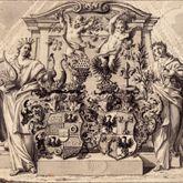 Alliance coat of arms of Pfinzing - Nützel, in front of an allegoric monument