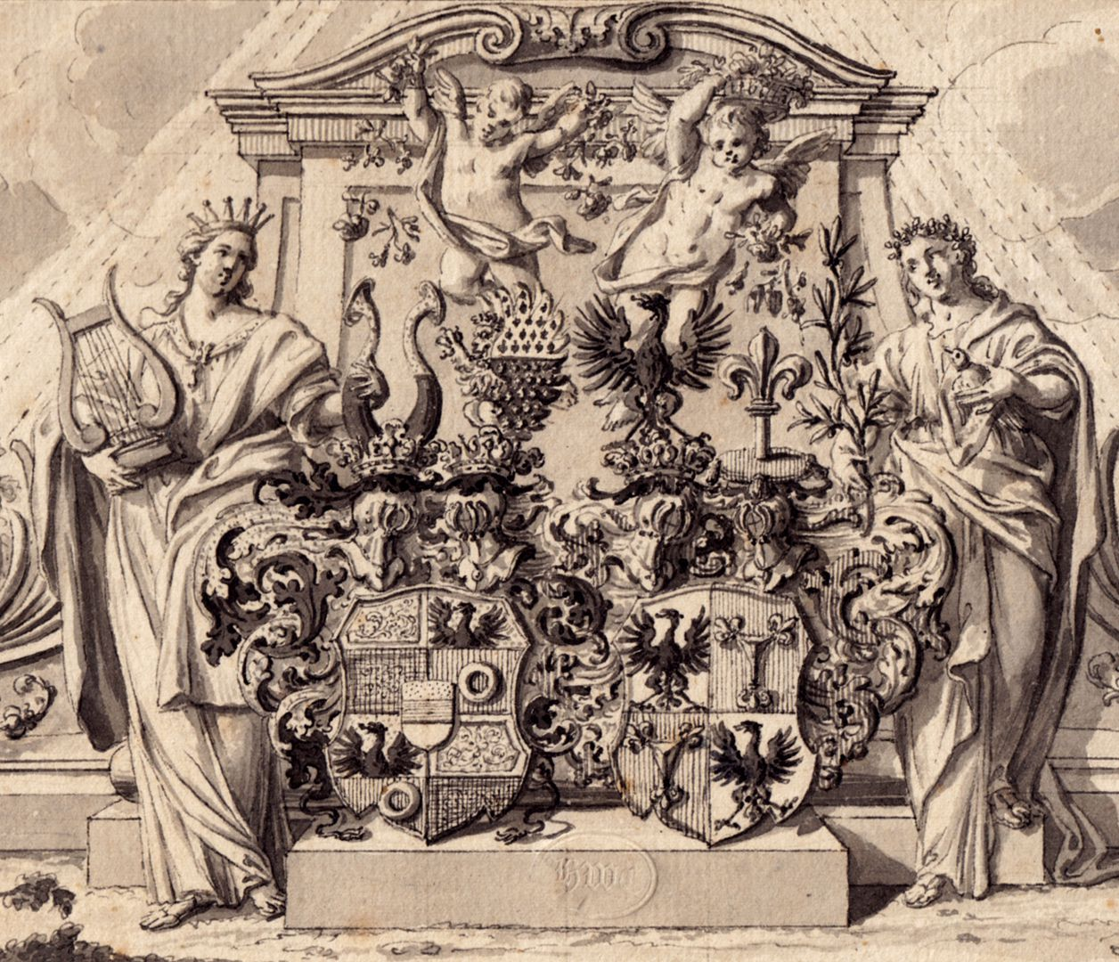 Alliance coat of arms of Pfinzing - Nützel, in front of an allegoric monument Detail