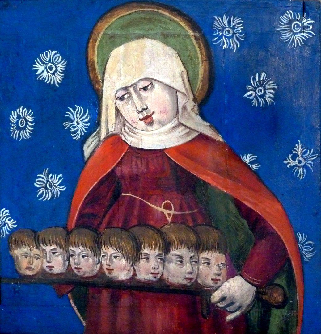 Puschendorfer Marienaltar rechter geöffneter Predella Flügel, Die heilige Felicitas mit den Häuptern ihrer Söhne