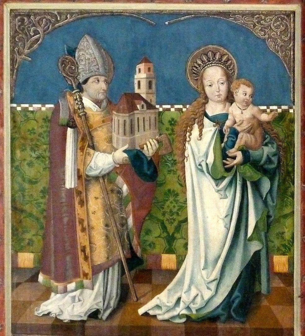 Puschendorfer Hochaltarretabel Altar geschlossen, l.Flügel oben: hl. Wolfgang  und  Maria mit dem Kinde