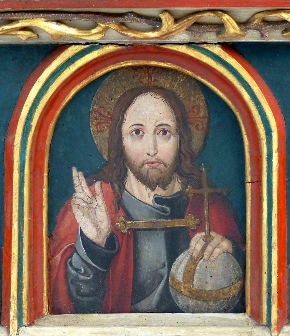Puschendorfer Hochaltarretabel Predella, Segnender Christus