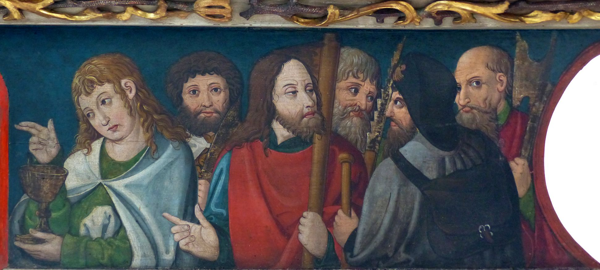 Puschendorfer Hochaltarretabel Predella, r. Apostelgesellschaft