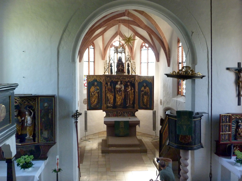 Puschendorfer Hochaltarretabel Innenraum und Chor