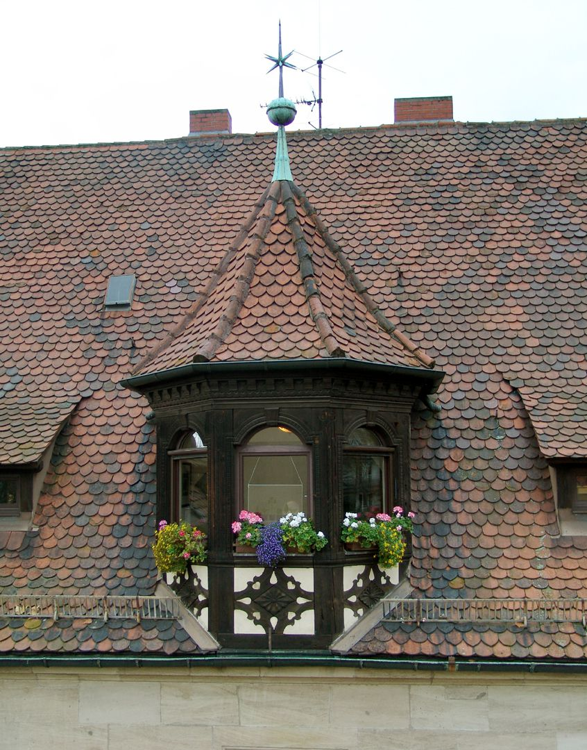 Residential building, Hallerwiese East side with gabled dormer window with ornamental wooden framework