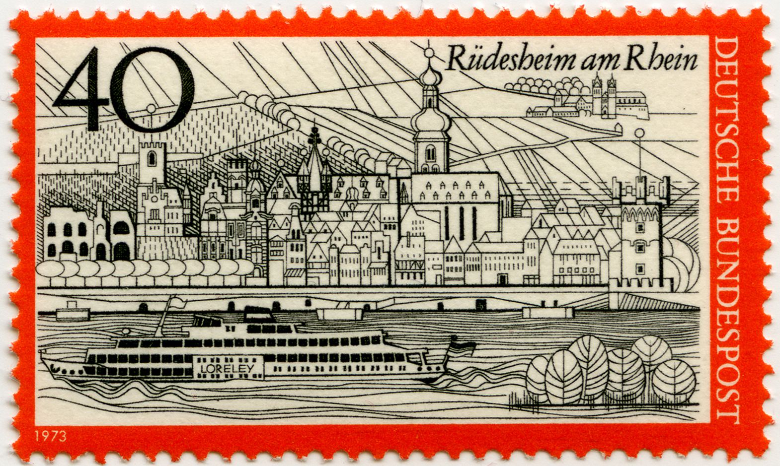 Rüdesheim on the Rhine Total view