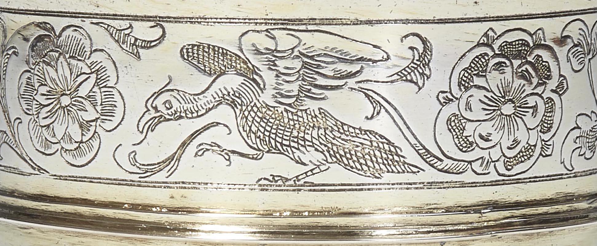 Nuremberg pedestal cup Detail of the upper edge