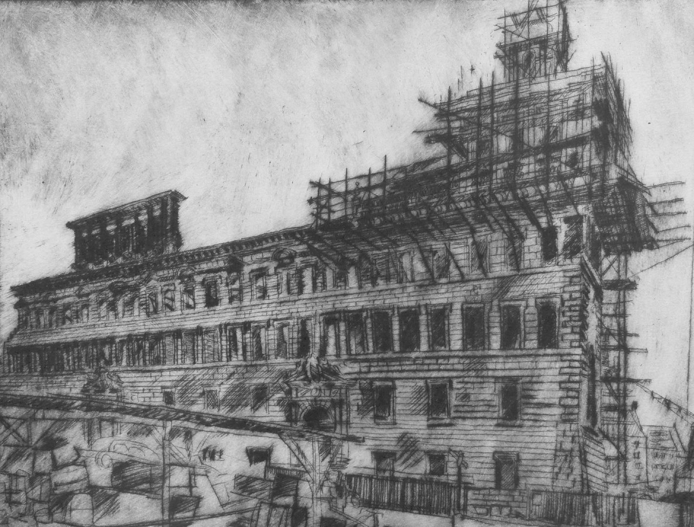 Old City Hall, rebuilding Detail