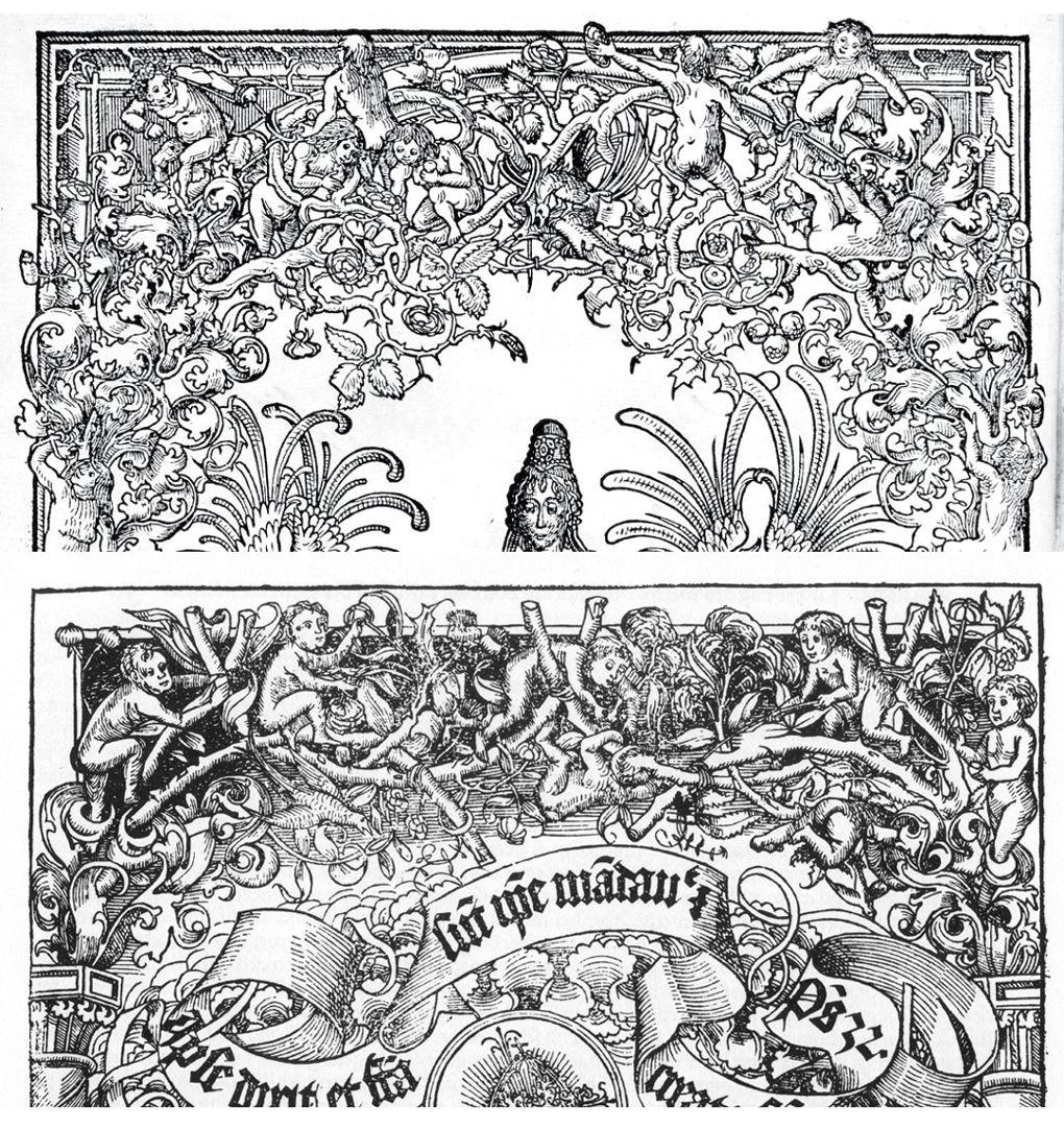 Titelbild der Schedelschen Weltchronik Gegenüberstellung Reuwich/Wolgemut: Astwerk mit spielenden nackten Knaben