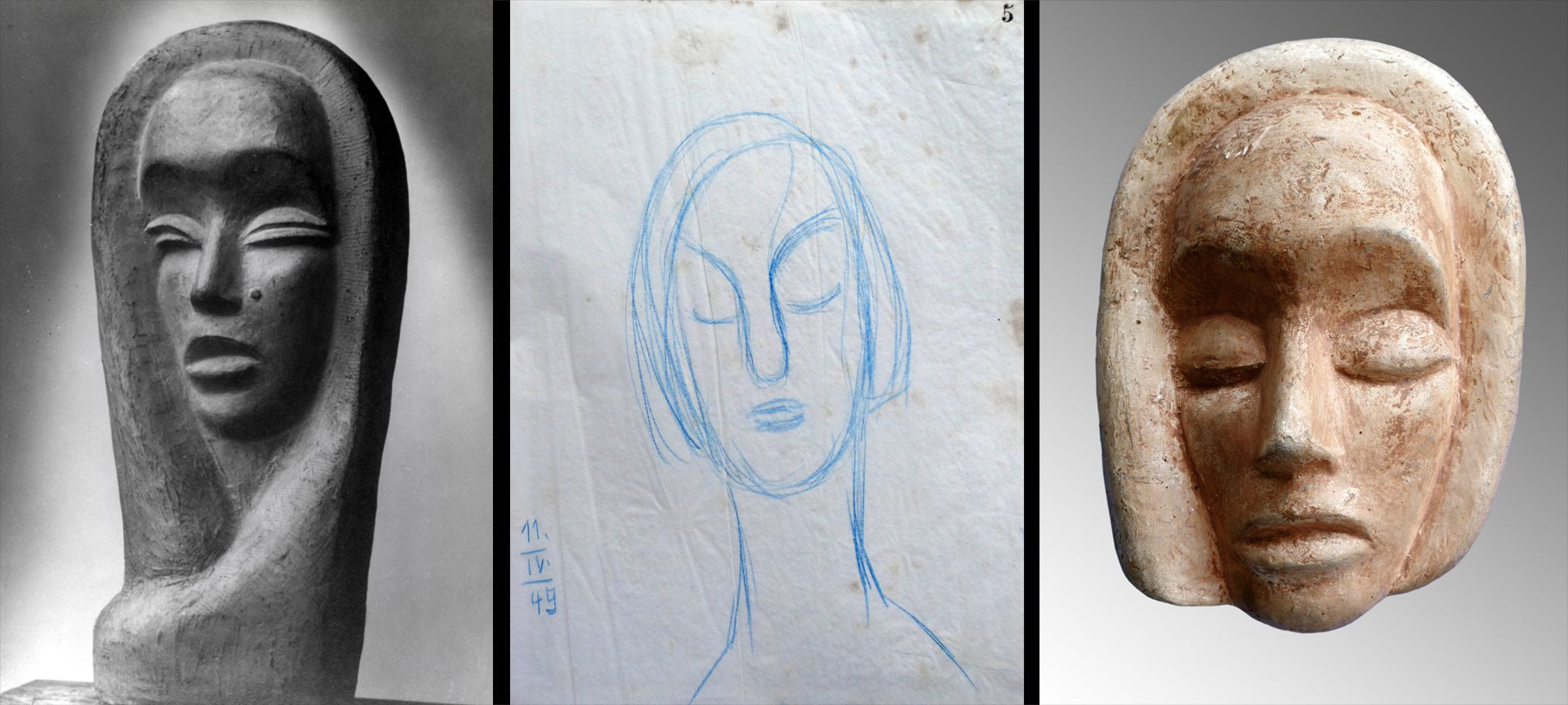 Mask Comparison with another work (location unknown) of the artist and a sketch from the year of origin