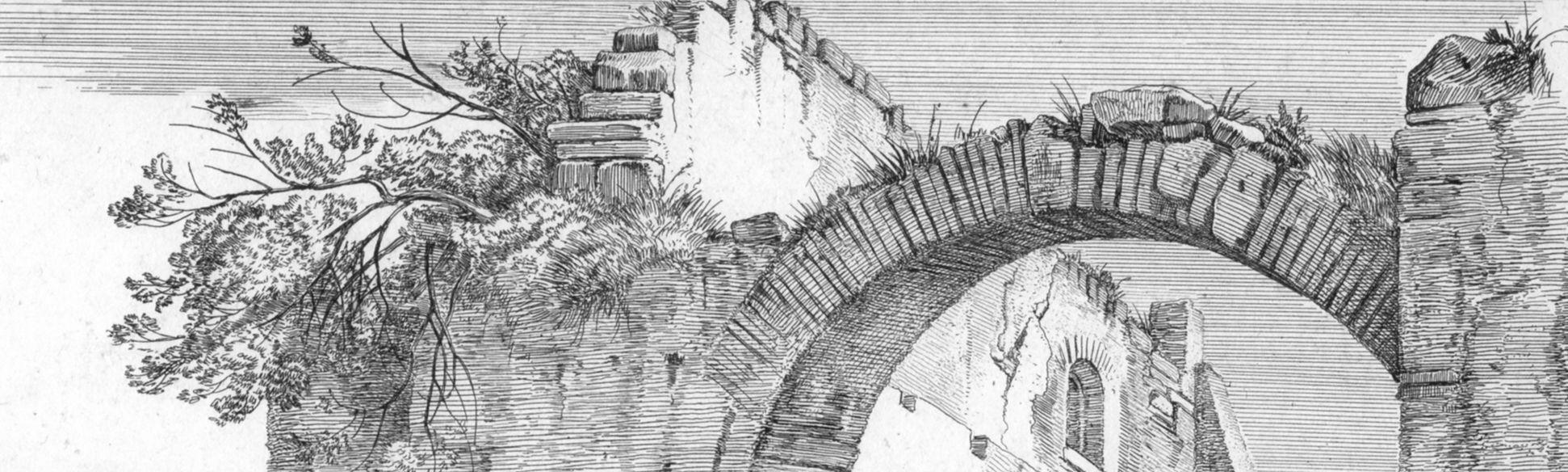 Cattle near ruins Ruin, detail