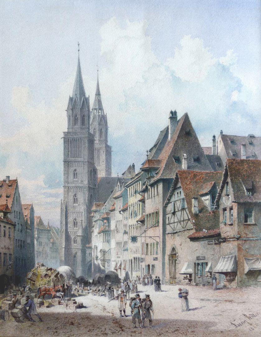 Königstraße with St. Lorenz-Church Total view