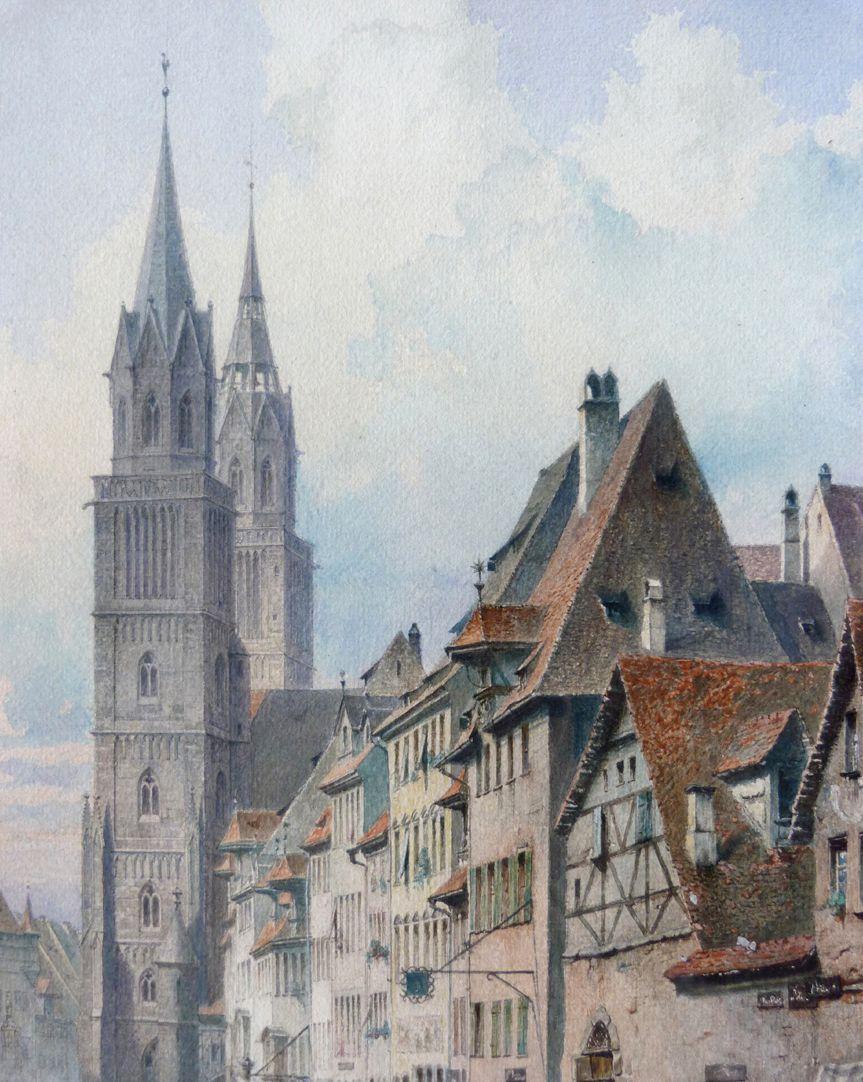 Königstraße with St. Lorenz-Church Upper half of the picture, detail