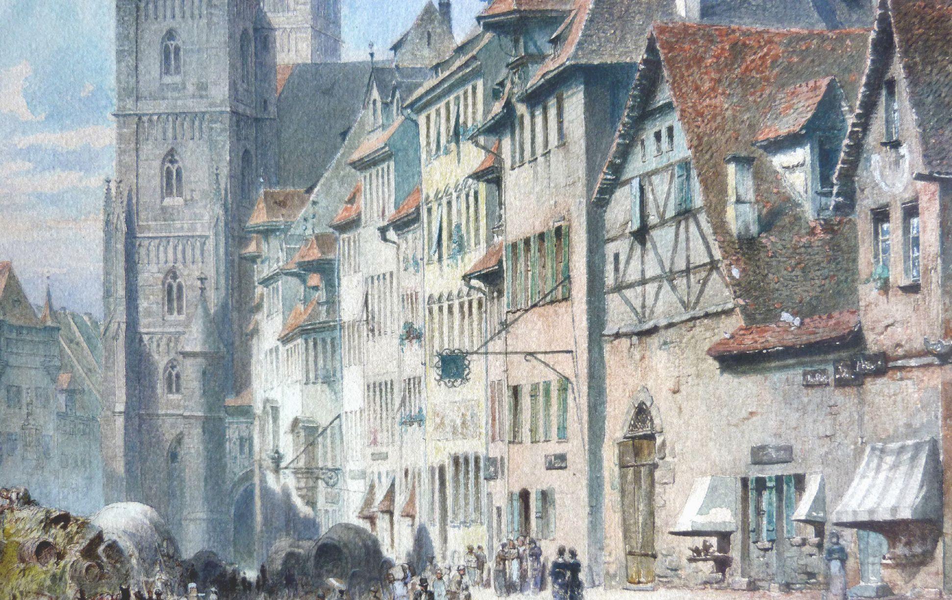 Königstraße with St. Lorenz-Church Row of houses