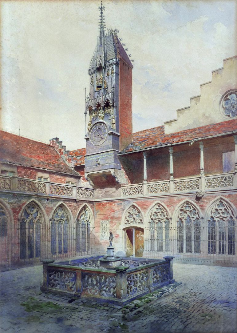 German National Museum, Augustine wing, so-called Wittelsbach Court with Wittelsbach clock Total view