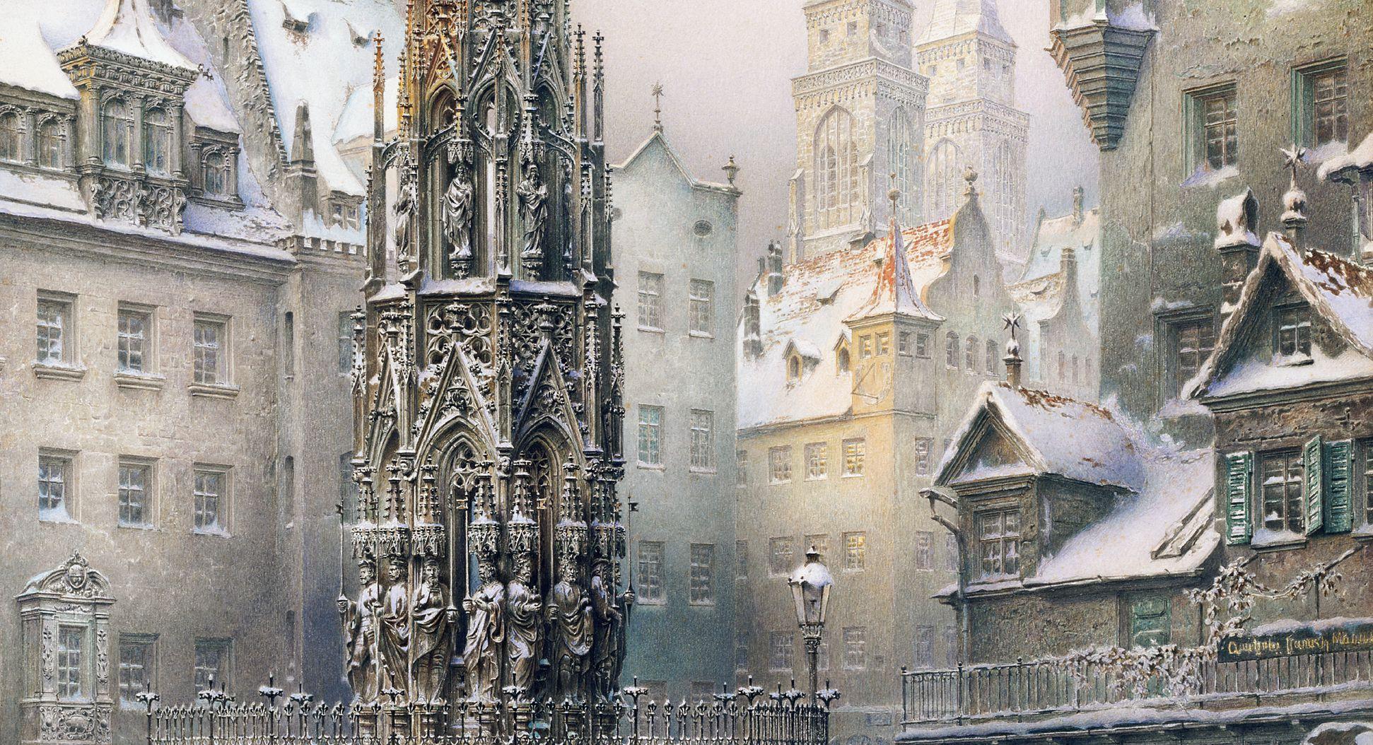 Christkindlesmarkt (Christmas market) with Beautiful Fountain View towards St. Sebaldus-Church