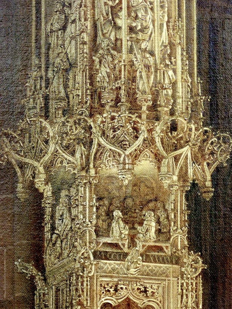 Tabernacle in St Lorenz-Church in Nuremberg with bridal procession form the early 17th century Tabernacle, pinnacle decoration