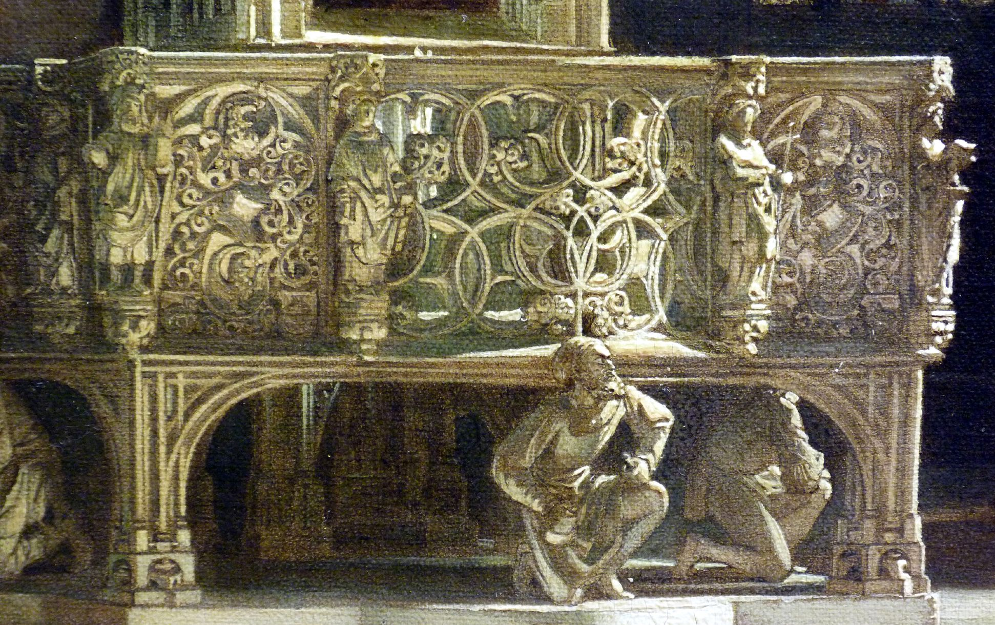 Tabernacle in St Lorenz-Church in Nuremberg with bridal procession form the early 17th century Tabernacle, walking platform