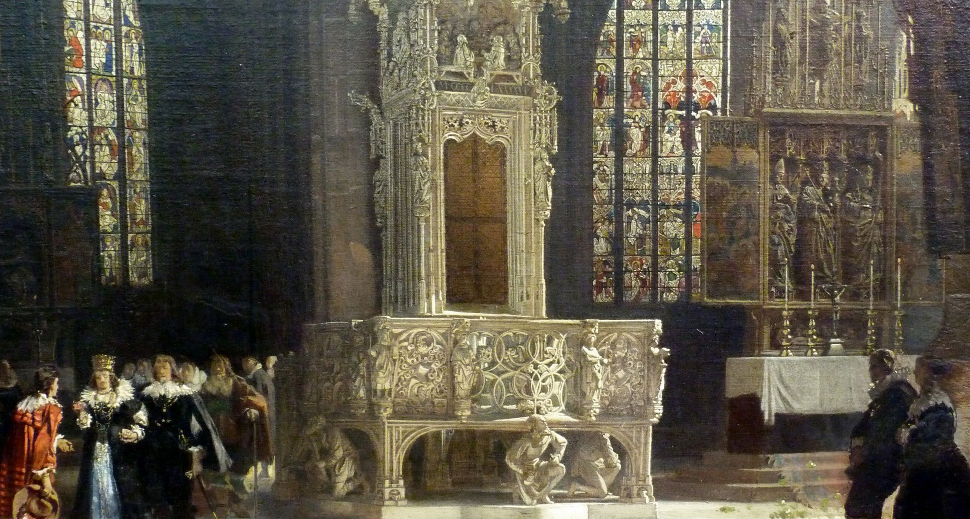 Tabernacle in St Lorenz-Church in Nuremberg with bridal procession form the early 17th century Detail view with bridal procession