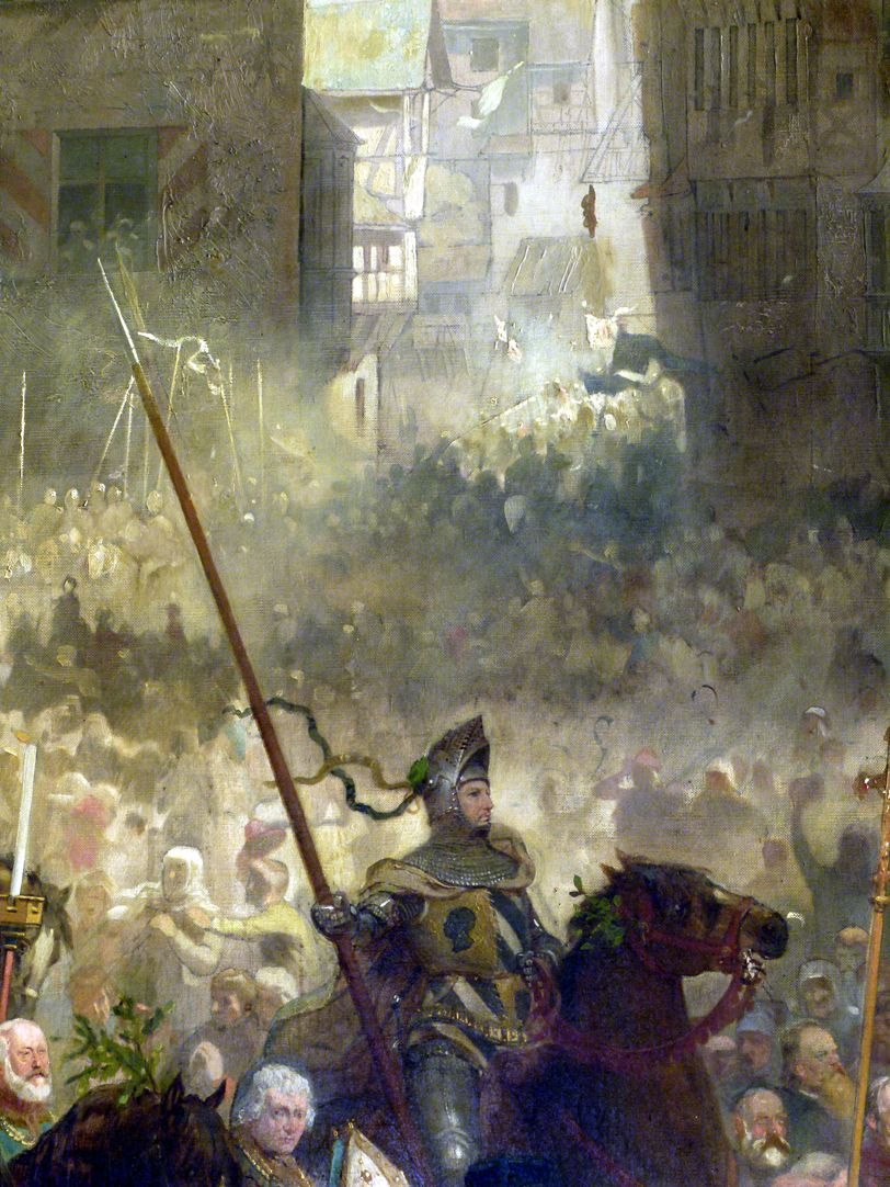 The transfer of the Imperial Regalia in Nuremberg on 22nd March 1424 Knight, view over the crowd into Plobenhofstraße