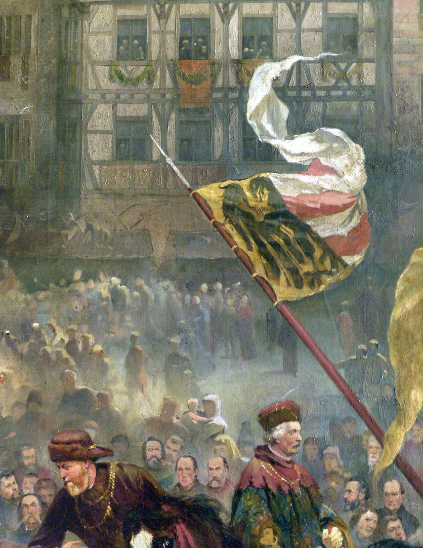 The transfer of the Imperial Regalia in Nuremberg on 22nd March 1424 Procession, flag with Nuremberg Coat of arms