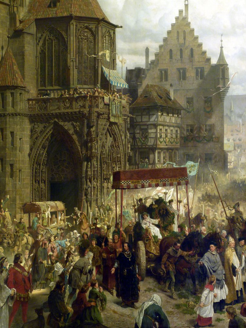 The transfer of the Imperial Regalia in Nuremberg on 22nd March 1424 Procession with canopy