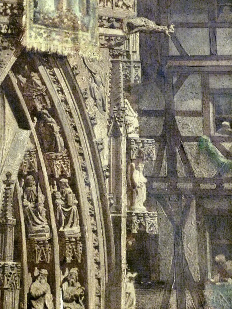 The transfer of the Imperial Regalia in Nuremberg on 22nd March 1424 Our Lady´s Church, portal, detail