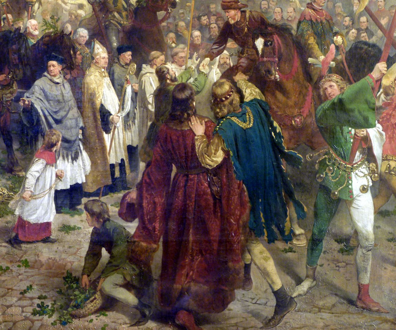 The transfer of the Imperial Regalia in Nuremberg on 22nd March 1424 Procession, detail