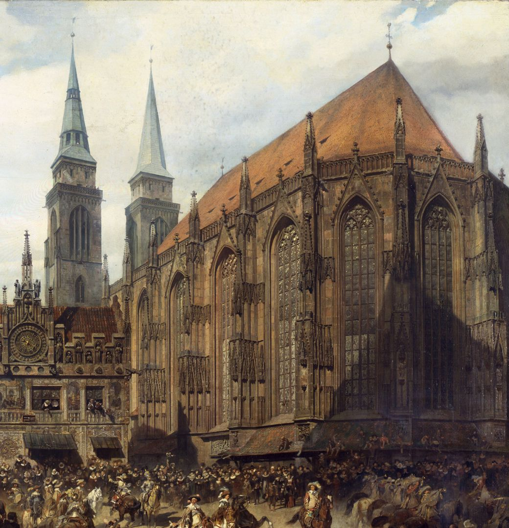 The old show at Nuremberg at the time of Gustav Adolf's entry on 21 March 1632. Picture of the hall choir of the Sebaldus Church